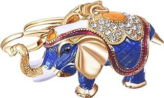 Women's Elephant Keychain Gold Plated Bag Charm Cute Car Key Ring Crystal Purse Pendant #5162