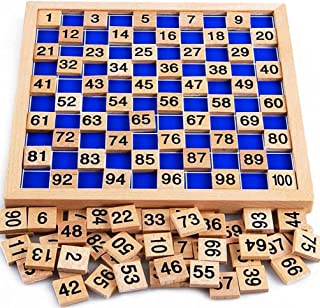 Amersin Wooden Toys Hundred Board Montessori 1-100 Consecutive Numbers Early Childhood Toys Digital Board for Kids with St...