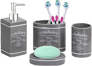 Elaine Karen Deluxe Paris Design Ceramic Bathroom Vanity Accessory Set, Soap Dispenser Pump, Toothbrush Holder, Tumbler, Soap Dish - 4 Piece - Grey