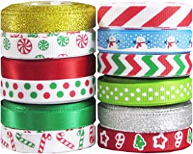 Q-YO Holiday Christmas Grosgrain Ribbon Set for Gift Package Wrapping, Hair Bow Clip Accessory Making, Crafting, Wedding D...