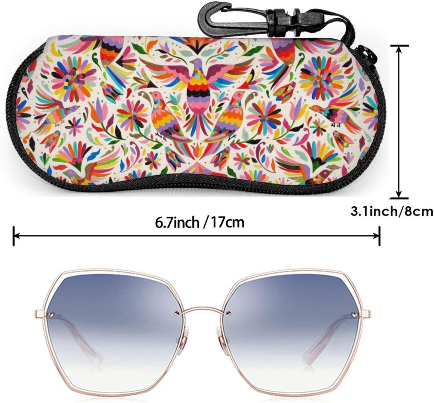 vvvw Sunglasses Soft Case with Belt Clip Mexican Ethnic Floral Colorful Birds Paisley Ultra Light Neoprene Zipper Eyeglass Glasses Pouch