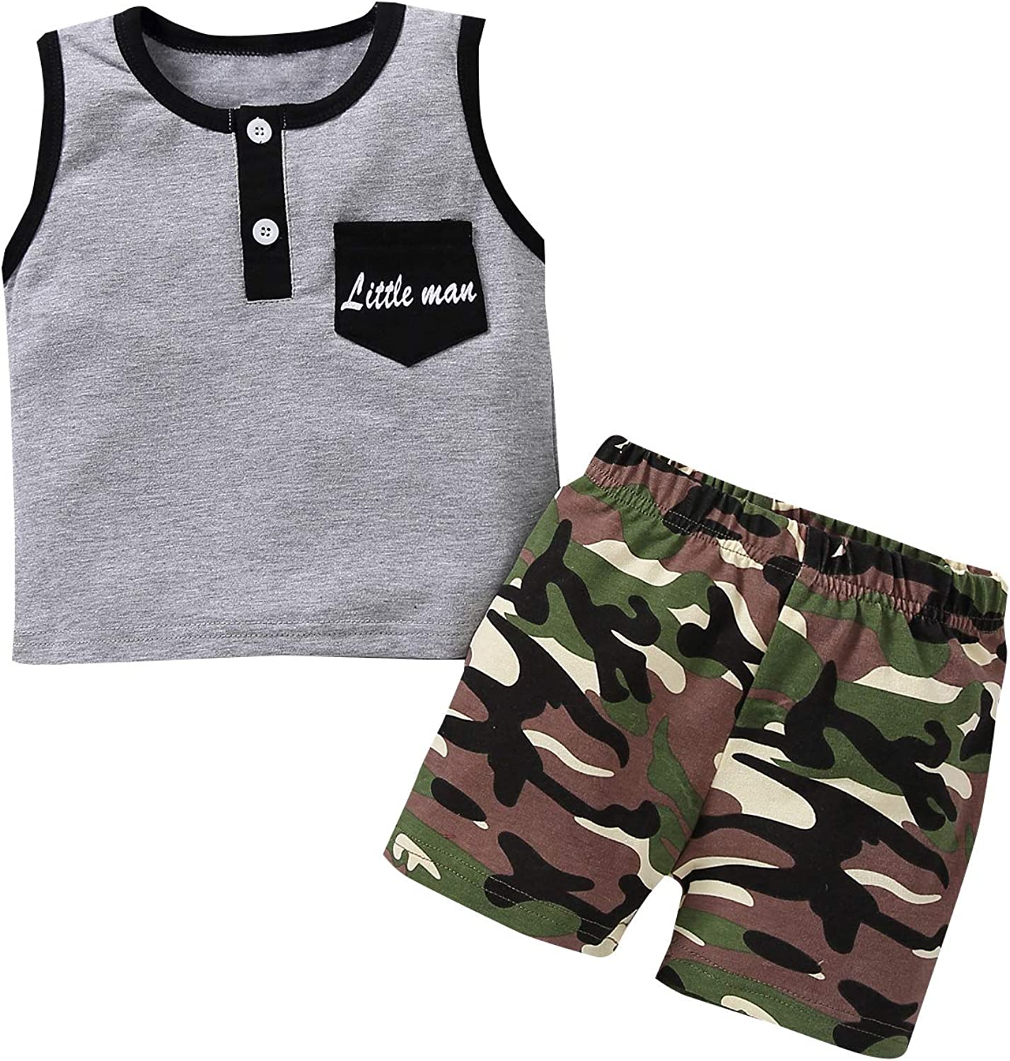 Toddler Jacksonville Mall Kids Baby Boy Camouflage Outfit Top Print Tank Letter + Japan's largest assortment