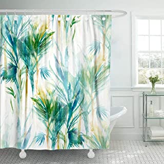 yellow and turquoise shower curtain