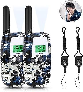 RATEL Walkie Talkie Niños 1-3KM 16 Canales LCD Pantalla Walkie Talkie Set con Linterna, retroiluminado y 2 acollador, para Acampar, Ciclismo de Supervivencia de Campo y Senderismo. (Azul Camo)