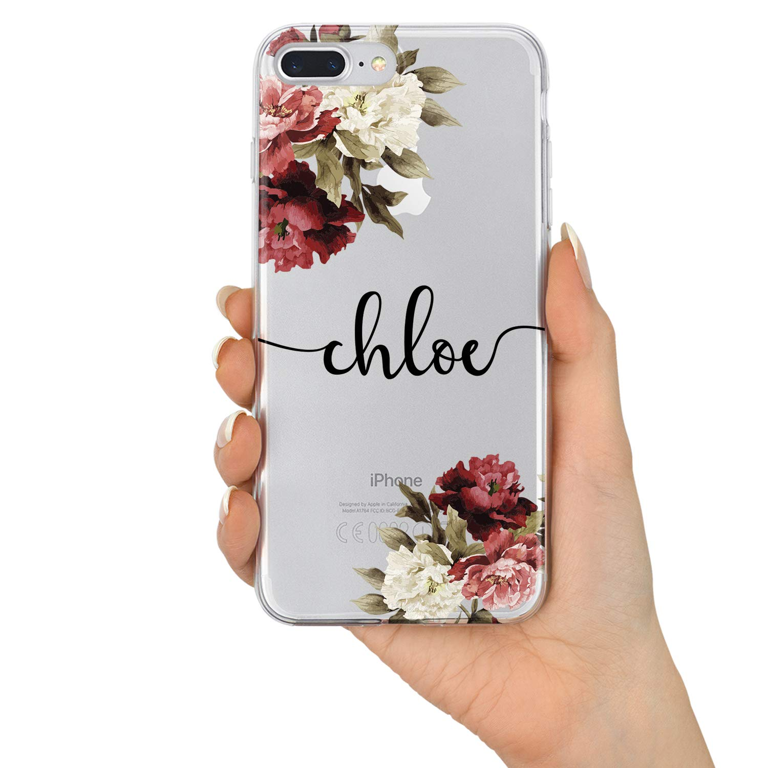 Tirita Personalised iPhone 6 /& 6s Marble Handwritten Script Fancy Cursive Font Silicone Clear Soft TPU Rubber Gel Phone Case Custom Initials Name Text Trendy Fashion Gift Present
