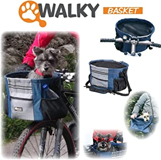 Walky Basket Pet Dog Bicycle Bike Basket & Carrier Easy Click Release Mounting- Up to 15lbs 15.5