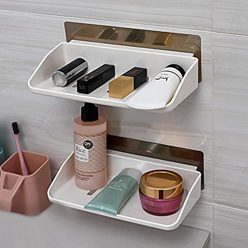 HOKIPO Plastic Magic Sticker Series Self Adhesive Bathroom Tray, White - Pack of 2