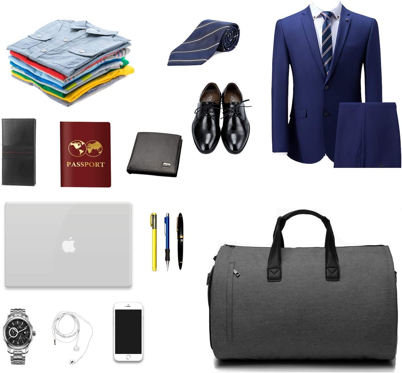 LILINSS Suit Storage Bag Mens Large-Capacity Folding Oxford Cloth Durable Portable Travel Bag Travel Storage Bag with Shoe Warehouse 45L
