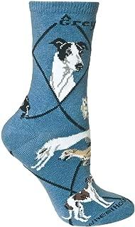 Wheel House Designs Greyhound Womens Argyle Socks (Shoe size 6-8.5)