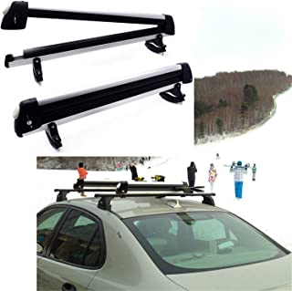 HTTMT KAYAK- 32 Inches Rooftop SnowRack Plus Ski Rack Compatible with Cars Fits 6 Pairs Skis or Fits 4 Snowboard