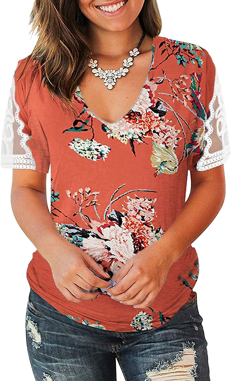 Women's Short Sleeve Shirts V Neck Floral Print Sexy Cold Shoulder Basic Tees Cute Summer Casual Tops Loose Blouses