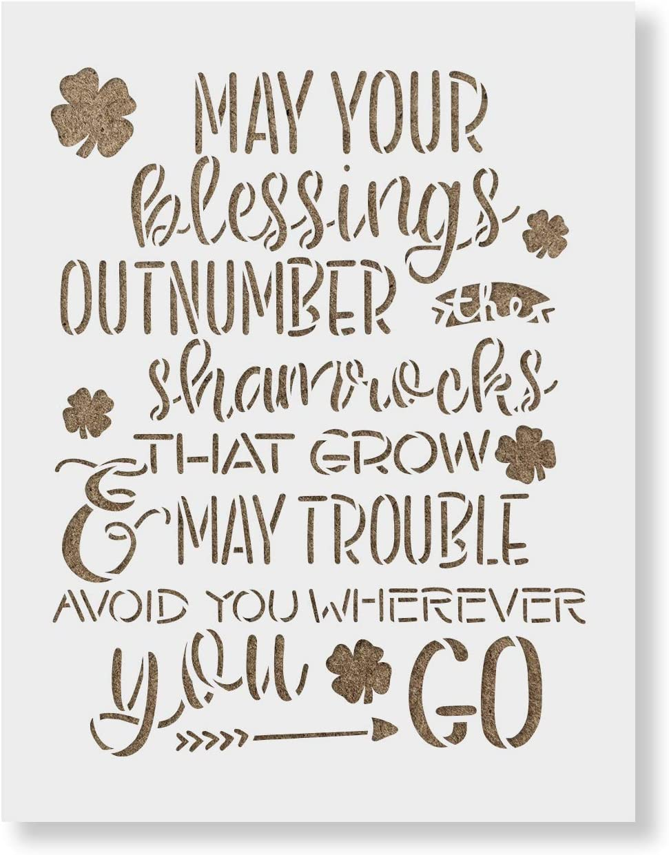 May Your Blessings Shamrock St - Patricks Stencil Stenc Reusable High quality Surprise price