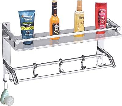 Plantex Elegant-Plus High Grade Stainless Steel Multipurpose 2 Tier Bathroom Shelf with Towel Holder/Towel Hooks/Bathroom Accessories Wall-Mount (Chrome Finish)