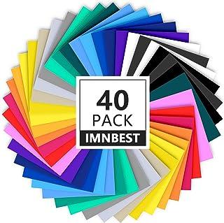 """40 Feuilles de Vinyle auto-Adhésives Permanentes de Qualité Supérieure de 12"""" X 8"""", (30,5 x 20,5 cm) 20 Feuilles de Couleu..."""