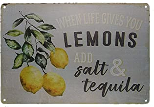 TISOSO Tin Signs When Life Gives You Lemons Add Salt Tequila Funny Retro Vintage Tin Bar Sign Country Home Decor Metal Bedroom Wall Hang 8X12Inch