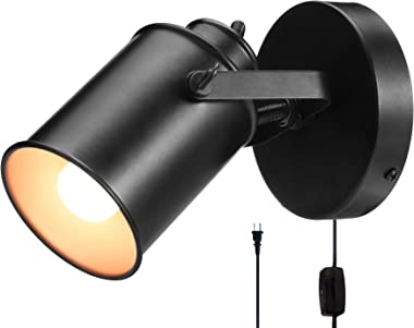 NOTOC Industrial Wall Lights Adjustable Retro Black Wall Lamp,Plug in Wall Sconces Lamp, Swing Arm Wall Lamp with On/Off Swit