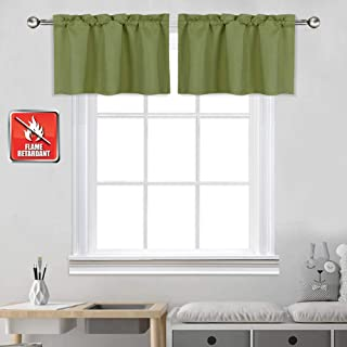 KEQIAOSUOCAI Fire Flame Retardant Valances - Thermal Insulated Blackout Rod Pocket Curtain Valances for Small Window (42 by 18 Inch Green 1 Panel)