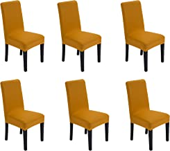 She Yang Spandex Fabric Stretch Removable Washable Dining Room Chair Cover Protector Seat Slipcovers Set of 4 (Gold, 6)