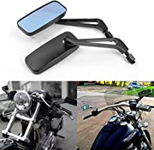 Fits All Harley Sportster and Big Twins Models Chopper Bobber Cafe Racer Chrome Rectangular Motorcycle Mirror for Left or Right Side with Adjustable Arm