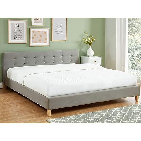 HOMIFAB Lit Adulte avec tête de lit capitonnée en Tissu Gris Clair - sommier à Lattes 180x200cm - Collection Milo
