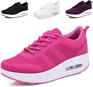 Women Wedges Tennis Rocker Shoes Walking Sports Shoes Lightweight Sneakers Air Cushion Slip On Fitness Shoes