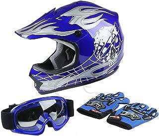 TCT-MT Helmet Goggles+Gloves New DOT Youth Blue Skull Dirt Bike ATV Motocross Large