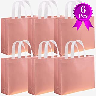 Rose Gold Gift Bags, Shynek 6 Pcs Bridesmaid Bags Reusable Party Gift Bags Non-woven Goodies Bags with Handles for Party, Wedding, Shopping