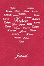 Personalized Journal - Karen: Red Leather Look Background