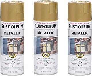 Rust-Oleum 7270830-3PK Stops Rust Metallic Spray Paint, 11 Ounce (Pack of 3), Gold Rush, 33 Ounce