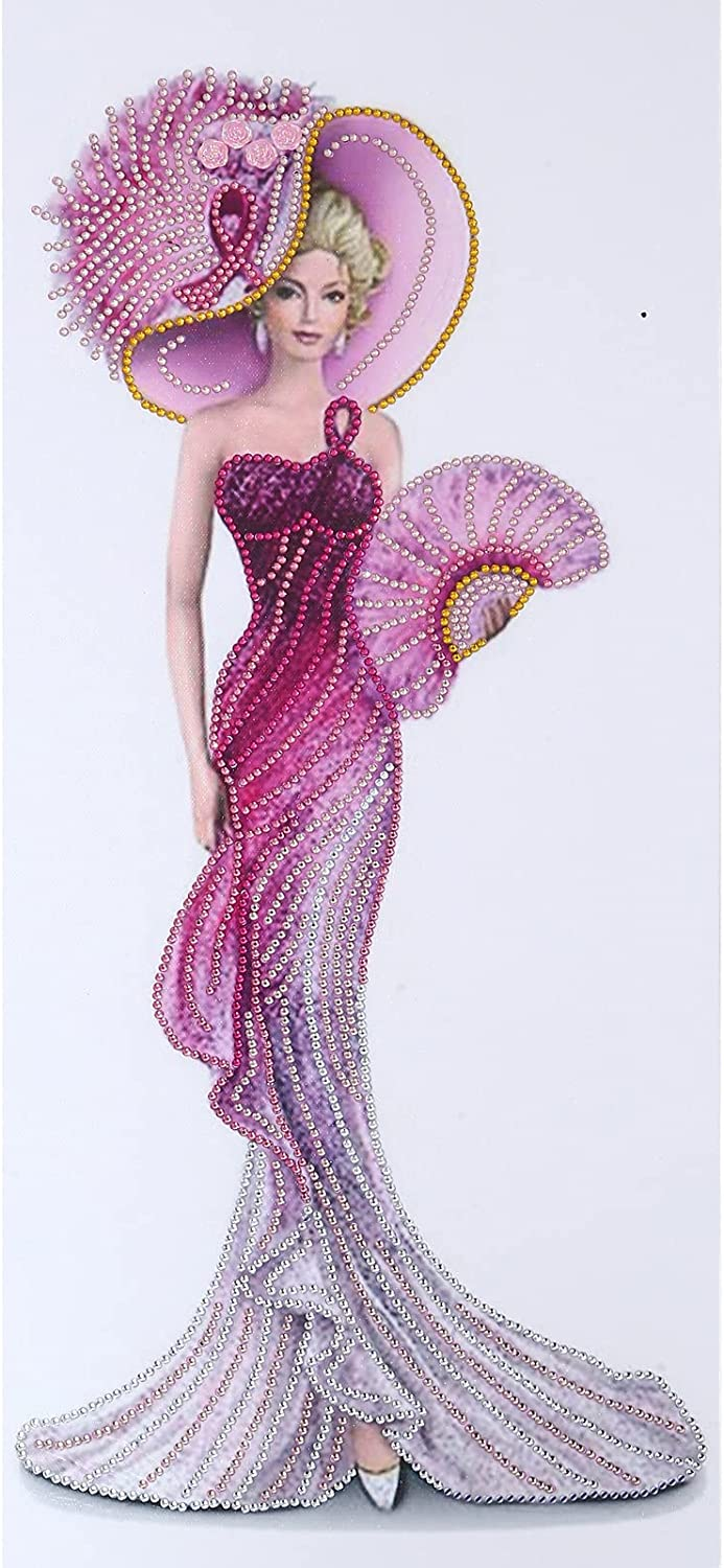 DIY Diamond Painting kit, Special-Shaped Diamond Painting, Partial Diamond Painting kit,Crystal Rhinestone Art for Home Wall Decoration—30X60CM (red Dress Ladies)