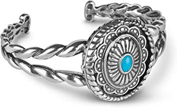 American West Sterling Silver Sleeping Beauty Turquoise Gemstone Interchangeable Cuff Bracelet Size Small