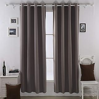 """Deconovo 1 Pair Double Layer Composited Fleece Grommet Blackout Curtain, 52"""" x 63"""", Khaki, 2 kg"""