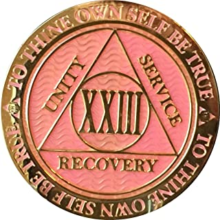 Recoverychip 23 Year AA Medallion Reflex Pink Gold Plated Chip