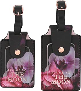 ATED399 Splendor Floral Faux Leather Travel Bag Tags with Adjustable Strap, Set of 2, Multi, Small
