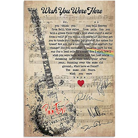 Pink Floyd Wish You Were Here Song Lyrics on LP Vinyl Record Album Unique Song Lyric Music Rock and Roll Art Music Wall Decor