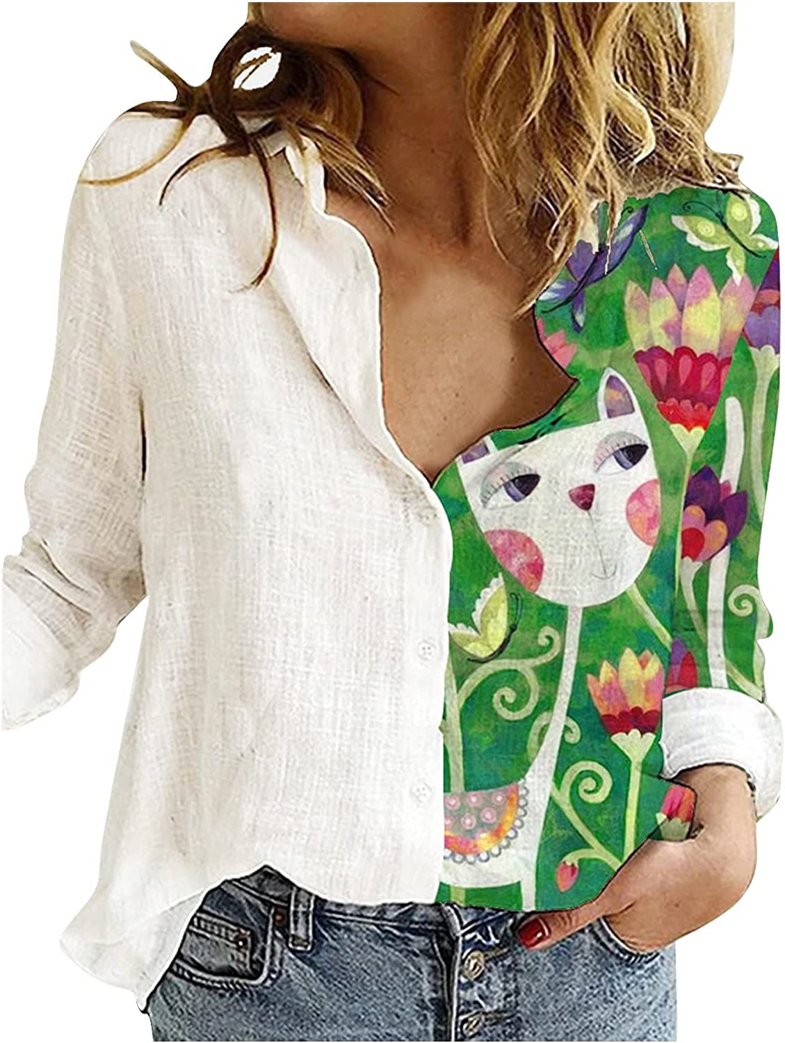 SEWORLD Women T Shirt Casual Pullover Plus Size O-Neck Printed Loose Button Tunic Tee Basic Blouse Tops