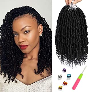 Bomb Twist Crochet Hair 6 Packs Spring Twist Hair Prelooped Crochet Braids Synthetic Hair Extension Passion Twist Mini Twist Hair dreadlocks Braiding Hair for Women 14inch By Mirra's Mirror (1B)