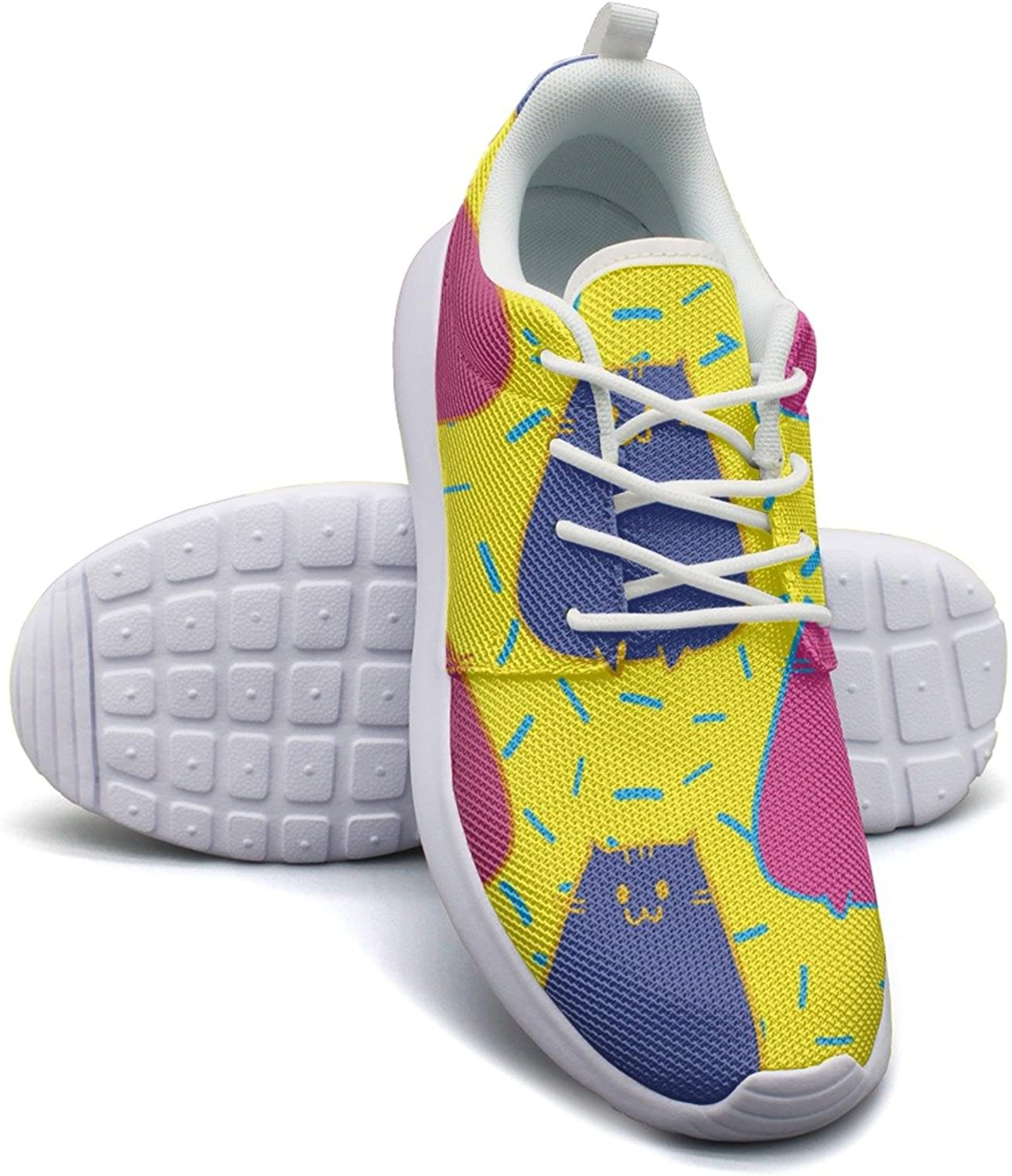 Cute Hand Drawn Cat colorful Running shoes For Women size 8