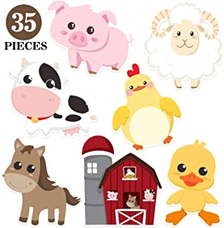 Blulu Farm Animal Party Decorations and Supplies, Farm Animals Decor for Baby Shower, Birthday Party Essentials with 80 Gl...