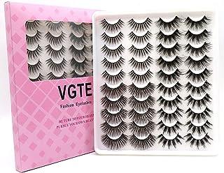 VGTE 6D False Eyelashes Extension 4 Styles 20 Pairs Faux Mink Lashes Makeup Hand-made Dramatic Long Lashes Reusable Cruelt...
