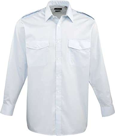 Premier - Camisa Lisa de Manga Larga de Caballero/Hombre Diseño piloto - Trabajo/Fiesta/Restaurante