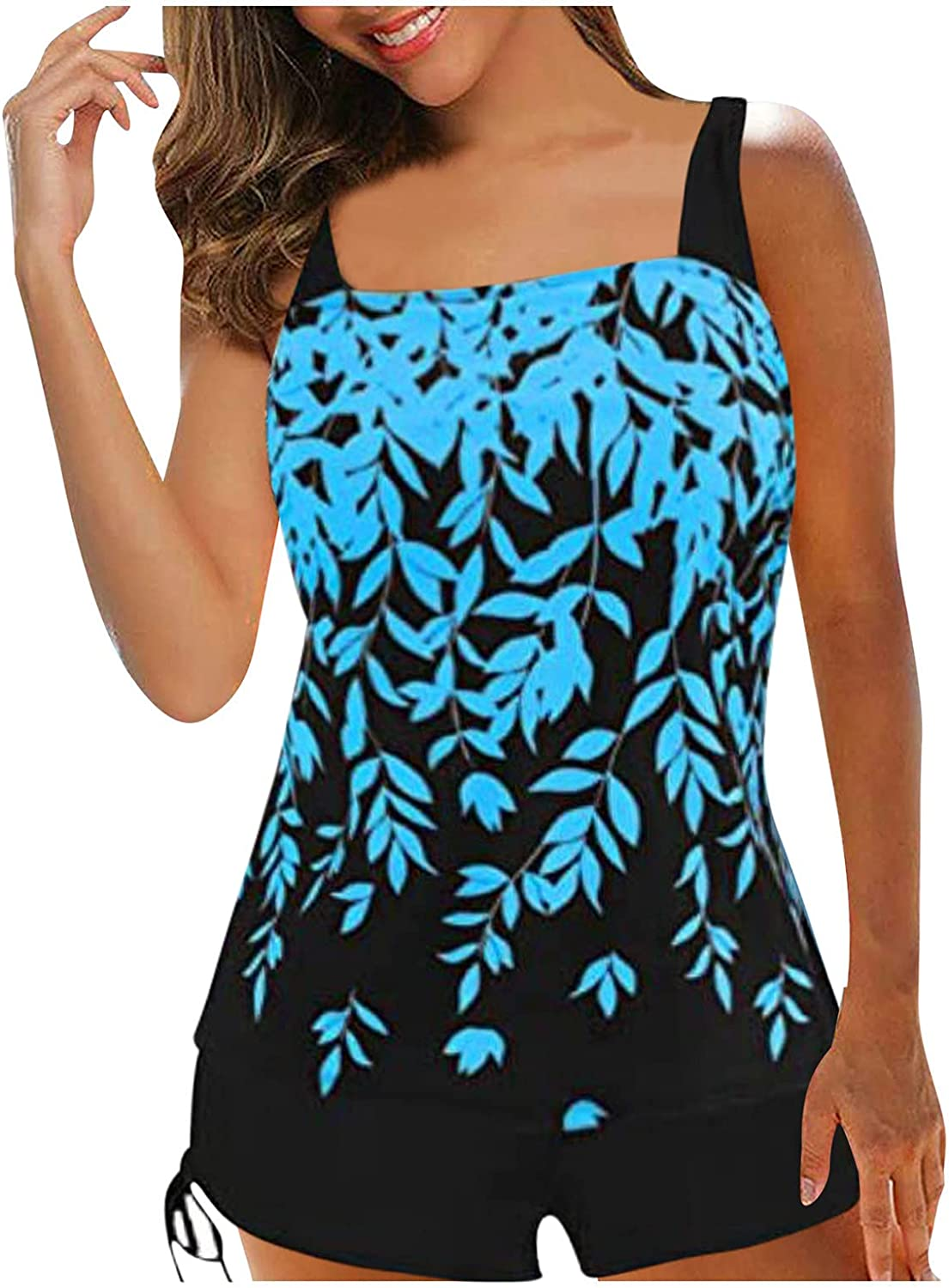 Bilibird Swimsuit for Women,Summer Bathing Suit Plus Size Print Strappy Back Tankini Set Two Piece Swimsuits Swimdress