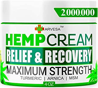Hemp Cream - 2,000,000 - Relieve Muscle, Joint, Foot & Back with Hemp + Turmeric + Arnica   Natural Hemp Oil Extract Gel - Made in USA - 4oz