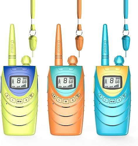 QNIGLO Q188 Talkie Walkie Famille Rechargeable 3Packs, 8 Canaux Communication 3Km Longue Distance,Aventures en Plein ...