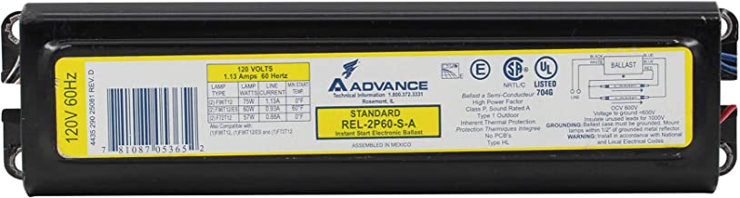Advance REL-2P60-S-A Instant Electronic Ballast, 2-Lamp, 96W T12, F96T12, 120V
