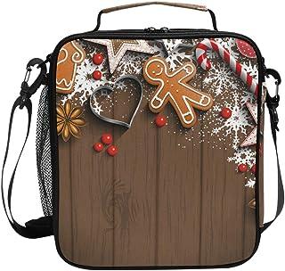 Sac à déjeuner isotherme carré portable de grande capacité avec motif décorations de Noël et texture bois pour enfants, fi...