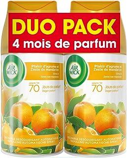 Air Wick Desodorisant Maison Recharge Diffuseur FreshMatic Plaisir d'Agrumes et Zeste de Mandarine 250 ml -Lot de 2