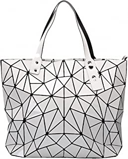 NEW Fashion Women Tote Bags BAO Fold summer Diamond Handbag PU Leather Hand Bag Laser Geometric Designer Handbags