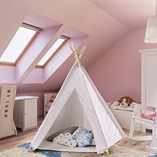 ABCCANOPY Teepee Tent for Kids- Tipi with a Floor, 5 Poles, Window&Pine Wood Bonus Decoration. Foldable Children's Playhouse for Indoor or Outdoor Play. Popular Boys & Girls Gift (White)