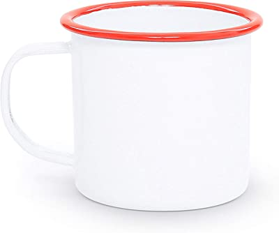 Enamelware Coffee Mug - Solid White with Red Rim